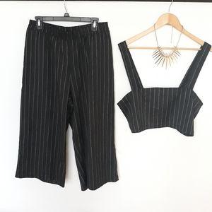 Lucca 2 piece stripe set crop top & cropped pants